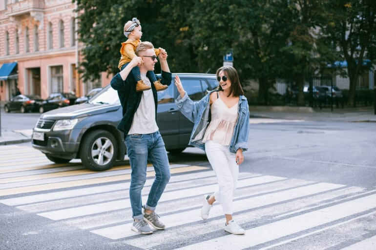 family walk chatting